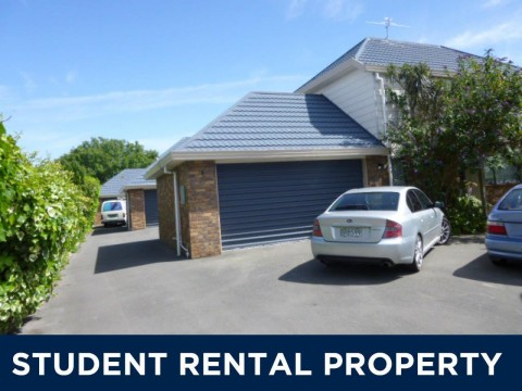 View profile: UPPER RICCARTON - STUDENT ACCOMMODATION 2019 - 4 BEDROOM TOWNHOUSE,HEATPUMP