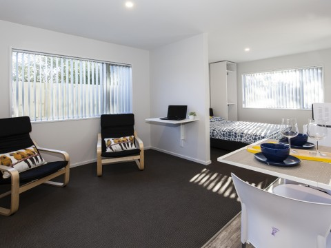 View profile: BRAND NEW STUDIOS, FURNISHED,DOWNSTAIRS DOUBLE BEDROOM, OWN BATHROOM , CARPARK, HEATPUMP